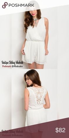 """6x $13 each Off White Lace Romper 6 Piece Prepack 3 Small 2 Medium 1 Large *for individual pricing visit @modabyboutique  13/piece Off white V neckline lightweight romper  V cutout detailing on the back. Sleeveless,  smock waist, Lace detailing 100% Rayon  Measurements for Large 33"""" length 30"""" bust 26"""" waist 2.5"""" Inseam  Notes: These are quality boutique garments, not something off a chinese website  Discounts availible on bundled listings  Boutique Clothing Wholesales @wholesales…"""