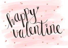 Een mooie, hippe valentijnskaart met aquarel achtergrond, handlettering en hartjes confetti, verkrijgbaar bij #kaartje2go voor € 0,99