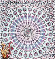 Mandala Peacock Tapestry Floral Indian Wall Hanging Hippie Throw Indian Bedsheet Wall Decor Sofa Table Coverlet Hippy Mandala Twin Bedsheet ** Details can be found by clicking on the image.Note:It is affiliate link to Amazon.