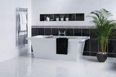 Elgin Marbles Black & White Tiles, a range of Wall Tiles in Ceramic suitable for Walls,Floors White Wall Tiles, White Bathroom Tiles, Black And White Tiles, Bathroom Floor Tiles, White Walls, Tile Floor, Black White, White Interior Design, Bathroom Interior Design
