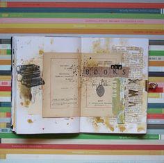 typewriter stamp (or rub-on), books, splatters.  liliema art journaling