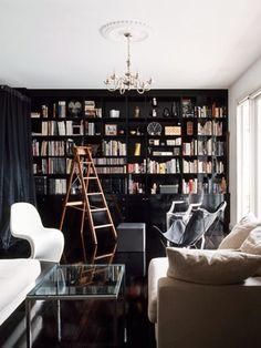 Love the black bookcase wall!