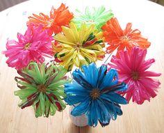 plastic bag flowers!