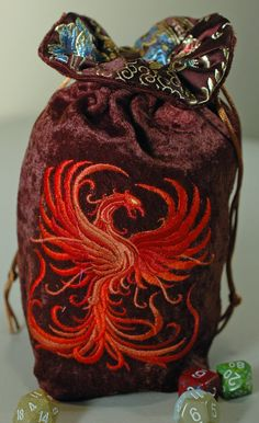 The Phoenix. Large Orange-Rust Phoenix Dice Bag with Lining