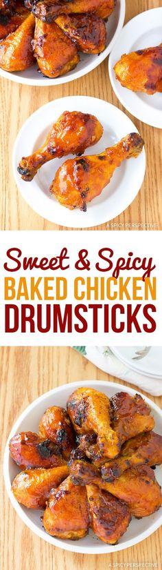Addictive Sweet and Spicy Baked Chicken Drumsticks Recipe via @spicyperspectiv