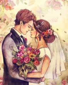 Congratulations on your wedding, love, gift art Wedding Drawing, Wedding Painting, Wedding Art, Wedding Images, Wedding Illustration, Family Illustration, Illustration Art, Illustrations, Image Nature