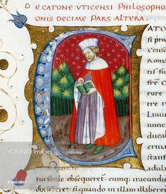 Initial letter C depicting Marcus Porcius Cato Uticensis, Cato the Younger, miniature from In libris epitomatum illustriorum virorum Plutarchi, by Pietro Candido Decembrio (1392-1477), parchment manuscript, cod CCXXXIX, folio 139, verso. Italy, 15th century.