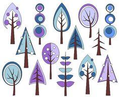 Retro Trees Clip Art Winter Trees Digital Clip Art by YarkoDesign, $4.49