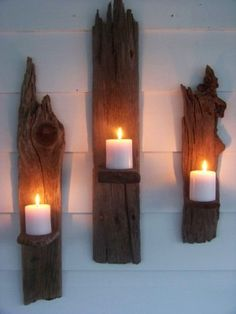 cute candle holder idea from reclaimed lumber - this link leads to a store