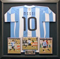 Lionel Messi Autographed Argentina Framed Jersey Signed