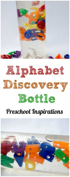 Discovery Bottle Combine sensory and literacy in this mesmerizing discovery bottle. Alphabet Discovery Bottle by Preschool InspirationsCombine sensory and literacy in this mesmerizing discovery bottle. Alphabet Discovery Bottle by Preschool Inspirations Preschool Science, Toddler Preschool, Learning Activities, Preschool Activities, Literacy Games, Children Activities, Early Literacy, Early Learning, Kids Learning