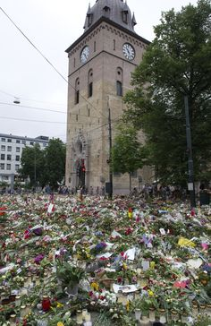"""""""Grief in the public domain"""". Flowers Sea at Oslo Cathedral.  2011"""