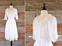 white cotton gauze dress with lace trim & by FancyLuckyVintage