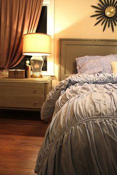 Love this bedroom  DIY Headboard.