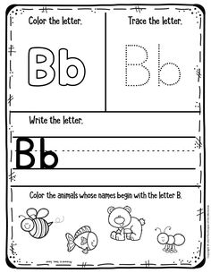 Free Printable Worksheets for Preschool & Kindergarten - Kids Craft Projects - Preschool Worksheets! My First Animal Alphabet Notebook for Pre-K/Kinderga - Pre K Worksheets, Letter Worksheets For Preschool, Free Kindergarten Worksheets, Preschool Learning Activities, Preschool Letters, Free Printable Worksheets, Preschool Lessons, Activity Pages For Kids Free Printables, Worksheets For Preschoolers