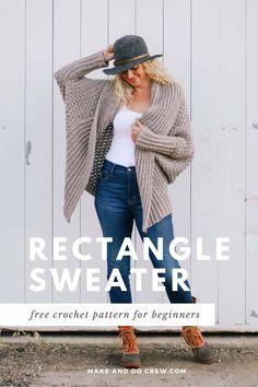 Free Beginner Crochet Sweater Pattern + Video Tutorial > Make & Do Crew One Skein Crochet, Pull Crochet, Mode Crochet, Crochet Basics, Shrug Pattern, Crochet Cardigan Pattern, Crochet Jacket, Free Pattern, Beginner Crochet Projects