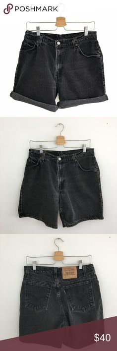 """Vintage Levi's High Waisted Mom Black Jean Shorts Vintage Levi's 950 Relaxed Fit High Waisted Mom Black Jean Shorts. Size 8/10 (tag reads 12, but vintage Levi's typically fit 1 to 2 sizes down--refer to measurements for fit). Excellent Vintage Condition. No visible flaws. I LOVE these jean shorts rolled up!! Such a MUST HAVE for this summer! 100% Cotton. Machine wash. Tumble dry hot. Waist: 15.5"""". Rise: 11.5"""". Inseam: 7"""". Length: 17.25"""". Vintage Shorts Jean Shorts"""