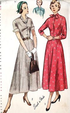 1940s Misses Dress with Cuffs and Two Collar by MissBettysAttic, $20.00