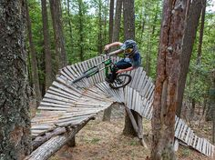 Why keep to flat land when you can fly down single-track trails and test your mettle on man-made obstacles? Visitors to the Whitefish Bike Retreat—a trailside community center for mountain bikers, recreational cyclists, and freewheeling mud boggers—have access to a network of routes, including the Spencer Mountain trail, seen here. Photograph by Jonathan Irish, June 2, 2014