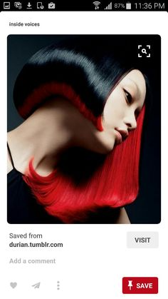 50 Short Hair Color Ideas for Women, If you want a unique look you must try this hair color. Color your lower hair with red color and upper hair with black. This hair color is going to ma. Color Fantasia, Asymmetrical Hairstyles, Corte Y Color, My Hairstyle, Great Hair, Awesome Hair, Hair Art, Cut And Color, Red Color