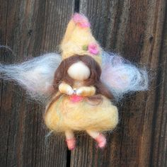 Ornament  Yellow Crystal Needle Felted Fairy Waldorf by Nushkie, $28.00