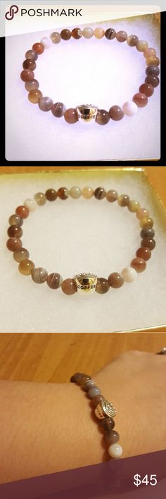 "☕ Natural colored coffee cup agate bracelet ☕ Cute natural colored agate beaded bracelet with sterling silver coffee cup charm ☕⛾ ""Crystal Meanings of Agate. Agate's most noticeable properties overall are balancing yin/yang energy, courage, protection, healing, and calming. Historically it was placed in water for cooking or drinking to dispel sickness."" made by me Jewelry Bracelets"