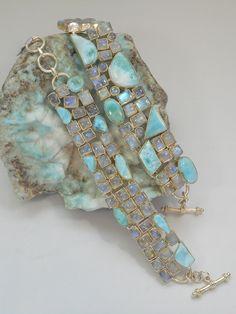 Larimar and Moonstone Bracelet 1