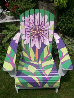 colorful painted Adirondack chair...start with an unfinished one and paint what you want