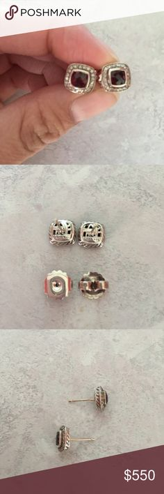 Authentic David Yurman petite Albion earrings Authentic David Yurman petite Albion earrings in garnet. Earring posts are slightly bent due to normal wear. David Yurman Jewelry Earrings