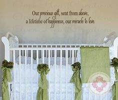 """Baby Quote Wall Decals - Our Precious Gift Sent From Above Vinyl Wall Saying for Baby Nursery Wall Lettering Decor 10""""H X 28""""W BA0385 on Etsy, $25.00"""