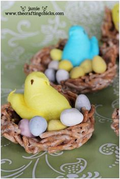 These are so cute. I used to make these and have them on everyones plates when they came to the table. Easter nest with peeps