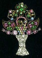 Framed Vintage Jewelry Brooches Art FLORAL OOAK Rhinestones Pink Green