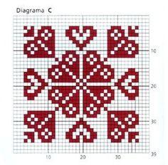 Just Cross Stitch, Cross Stitch Heart, Cross Stitch Borders, Modern Cross Stitch, Cross Stitch Designs, Cross Stitching, Folk Embroidery, Embroidery Stitches, Crochet Chart