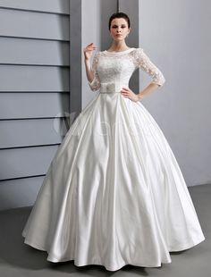 87b1b567ad57a Beautiful Ivory A-line Jewel Neck Lace Sash Satin Bridal Wedding Dress  Milanoo