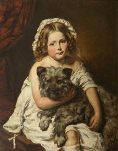 Young Girl With Her Pet Dog ~ Edwin Henry Landseer