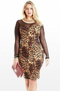 1b46220470 Plus Size Sleeve the Rest To Me Animal Mesh Dress
