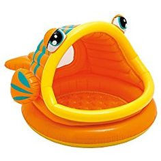 Beat the heat with the Intex Lazy Fish Shade Baby Pool on those hot summers! Splash and play inside a fun, lazy fish with the Intex Lazy Fish Shade Baby Pool! A built-in sunshade provides partial protection from the sunlight. Children Swimming Pool, Cool Swimming Pools, Kid Pool, Pool Toys For Kids, Inflatable Baby Pool, Kids Camping Chairs, Camping With A Baby, Summer Fun For Kids, Xmas