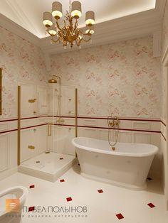 Фото: Дизайн ванной комнаты родителей - Интерьер загородного дома в стиле легкой классики, КП «Альпино», 430 кв.м.