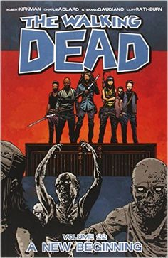 The Walking Dead, Vol. 22: A New Beginning by Robert Kirkman. For fans of the television series, this volume packs quite a punch with new twists and turns as Sheriff Rick and his gang survive the zombie apocalypse.  After facing an evil and chaotic foe, there are grave consequences for this new civilization, as well as new characters.  This is a great time to catch up on the comics, before the show starts up in the fall.