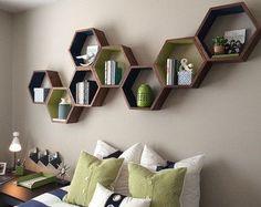 Geometric Wood Shelves - Honeycomb Shelves - Floating Shelves - Book Shelves - Modern Shelves - Modern Decor - Shelves - Shelving - Set of 3 - Home Decor