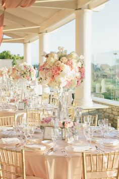 Romantic Pink + White Wedding at St. Regis Monarch Beach Gallery - Style Me Pretty Pink And White Weddings, White Wedding Flowers, Wedding Colors, Blush Weddings, Pink And Gold Wedding, White Wedding Decorations, Pink Wedding Centerpieces, Romantic Wedding Decor, Tall Centerpiece