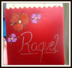 * Pintura em tecido * Fita académica * 3 flores + nome *
