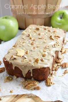 Caramel Apple Bread - This bread tastes just like apple pie! It is cinnamon-y and sweet, with crunchy caramel granola pieces baked inside. A great recipe for Fall. Fruit Bread, Apple Bread, Dessert Bread, Apple Pie, Caramel Recipes, Apple Recipes, Fall Recipes, Baking Recipes, Bread Recipes