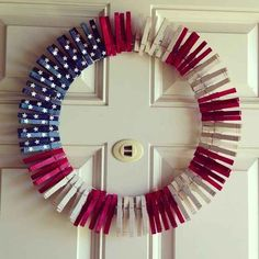 Paint clothespins for the easiest wreath ever. | 31 Last-Minute Fourth Of July Entertaining Hacks