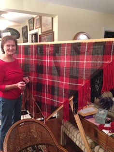 My friend, Donna, and the beautiful shawl she is making for me on her triangle loom!!!! I will be warm this baseball season! Go Warriors!