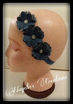Jean flower headband ♡