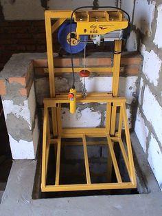 Garage Lift, Garage Tools, Diy Garage, Underground House Plans, Attic Lift, Staircase Outdoor, House Lift, Elevator Design, Lift Table