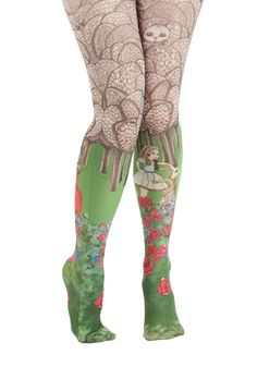 Land of Wonder Tights. An accessory as perfect as these illustrated tights will have you dancing for joy! #green #modcloth