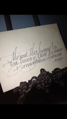 Handwritten calligraphy for weddings, showers, place arcs, announcements.. Elizabeth f. Williams@charter.net
