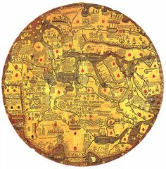 Mappa mundi Borgia or Tavola di Velletri    The map is oriented with south at the top.  Ms. Borg. lat. XVI - first half of the 15th century [c. 1430]  Rome BAV S-181 mappa mundi Borgia